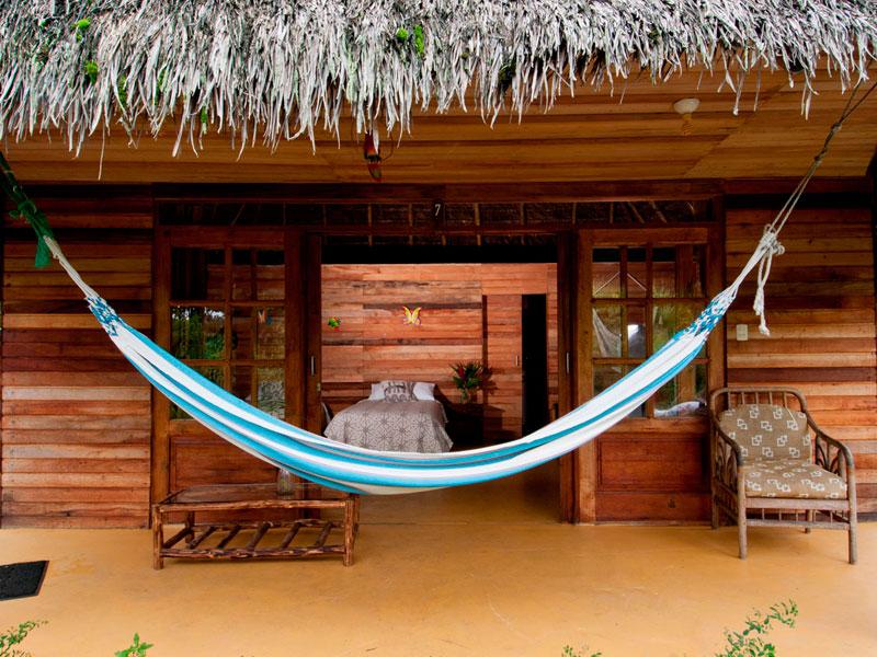 Hammock in front of bedroom in Ecuador ecolodge