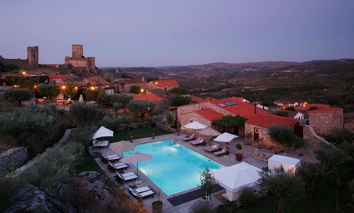 Aerial view pool and lodge Portugal Casas do Coro