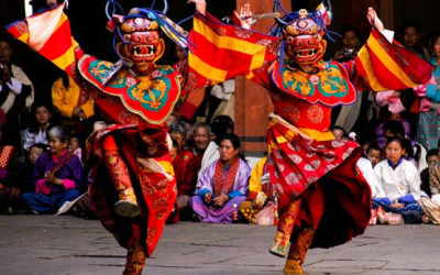 Traditional dancers in Bhutan cultural tour